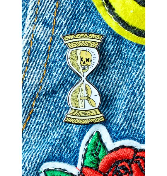No Hours Hourglass Pin