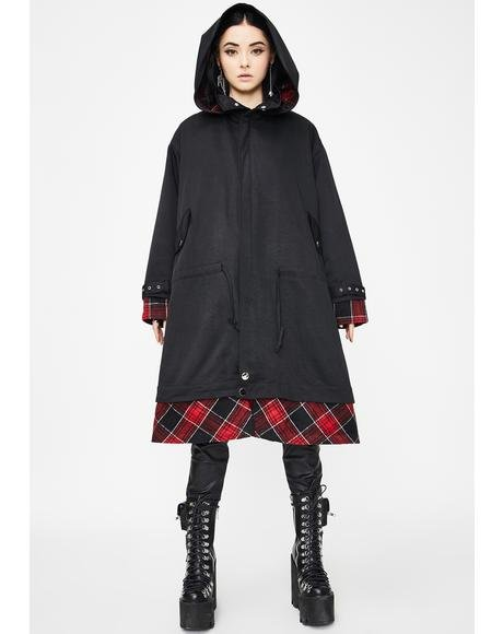 Stitching Hooded Longline Coat
