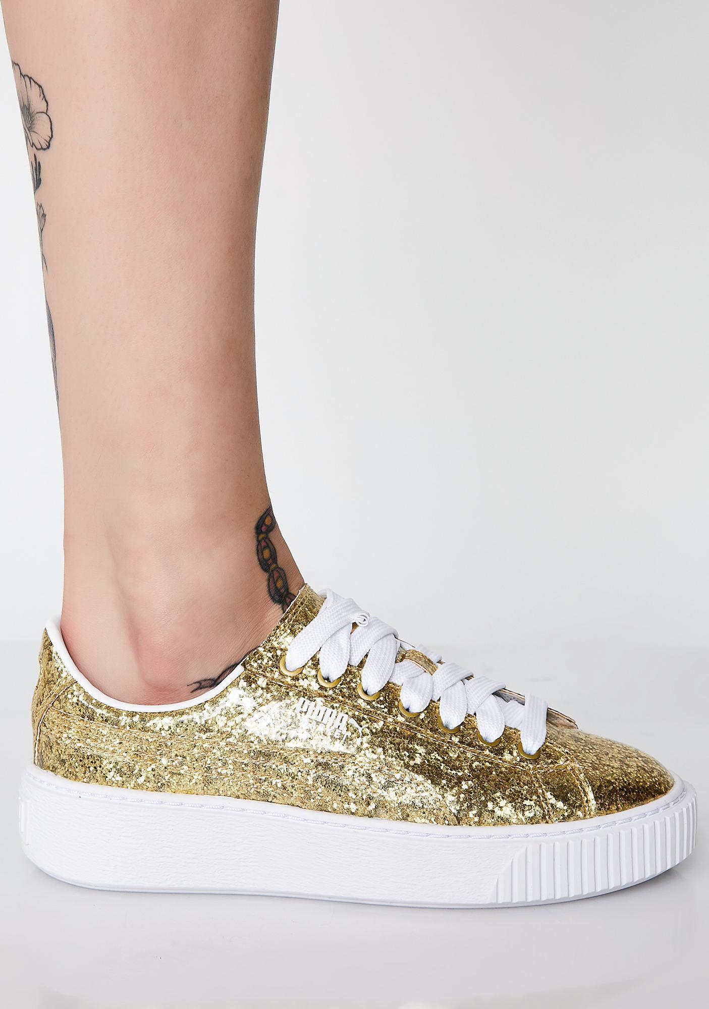 ... PUMA Basket Platform Glitter Sneakers 02d5ddb4d