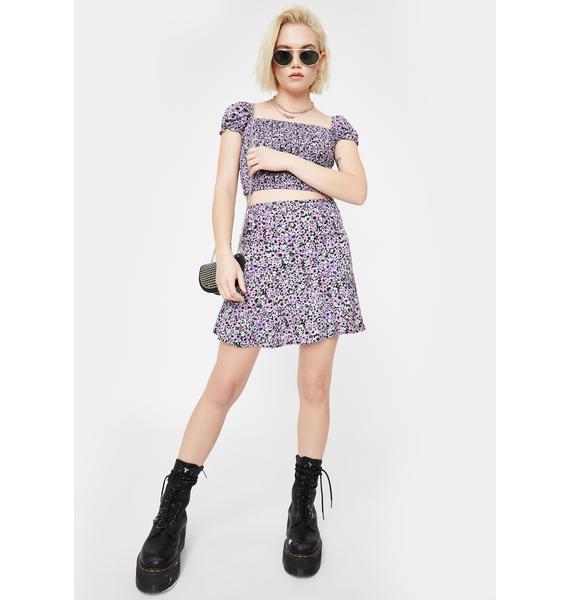 Motel Lilac Floral Gaelle Mini Skirt