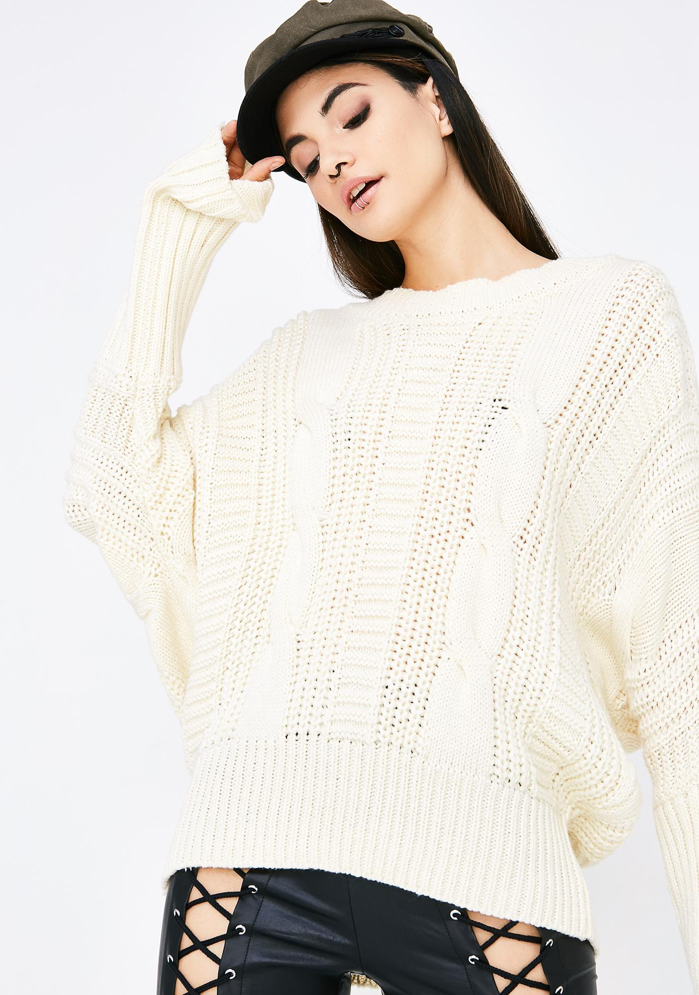 Vanilla With My Woes Lace-Up Sweater