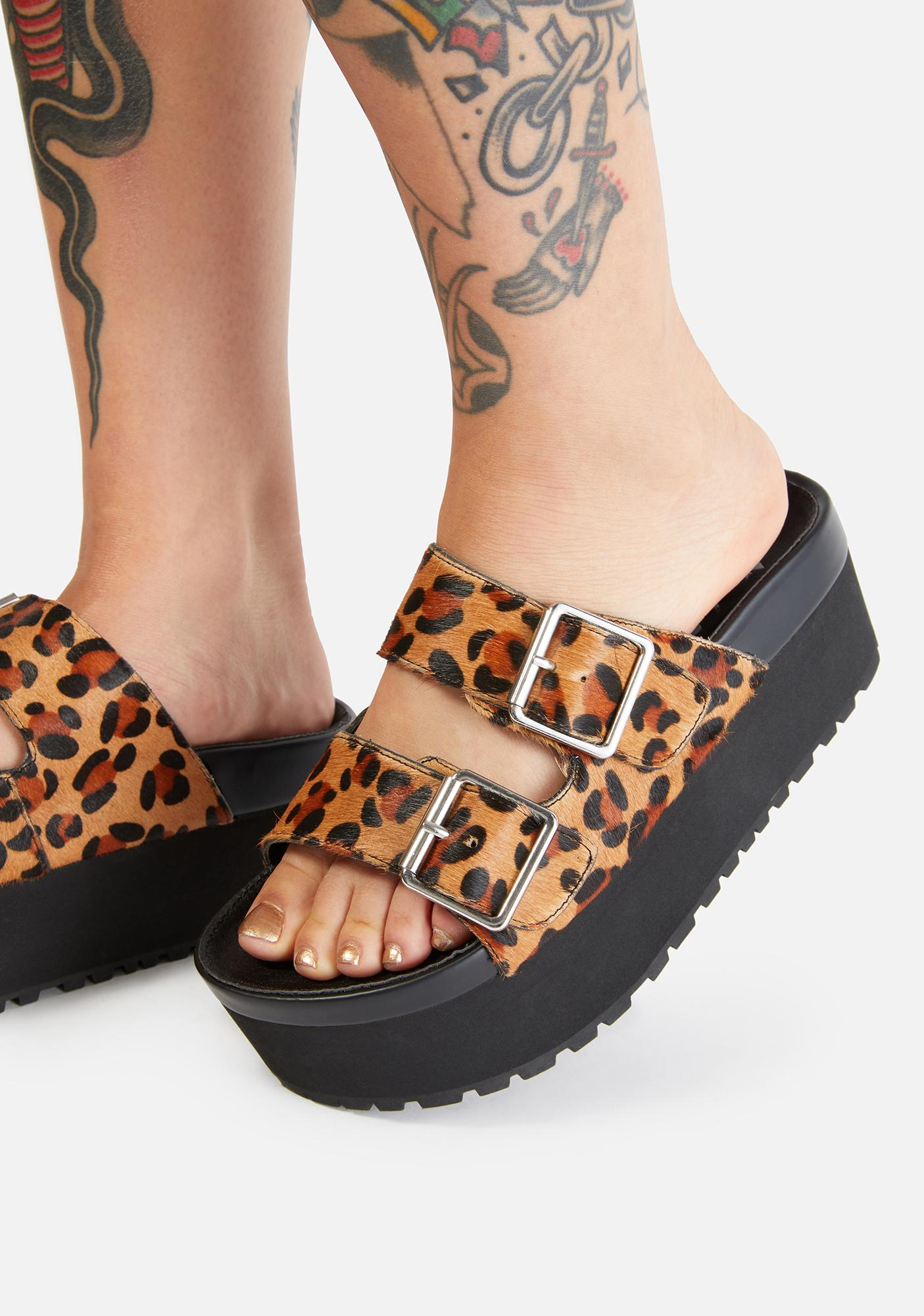 Charla Tedrick Leopard Swagger Platform Slides