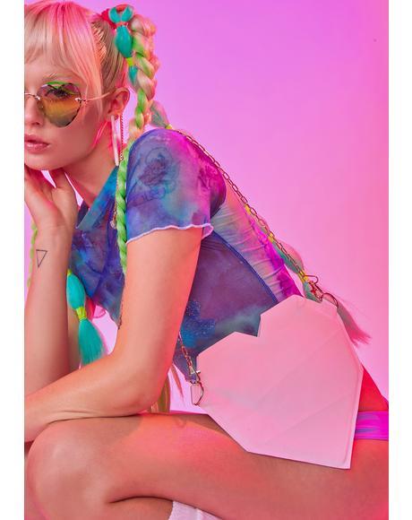 Pink Color Morphing Heart Traveler Hand Bag
