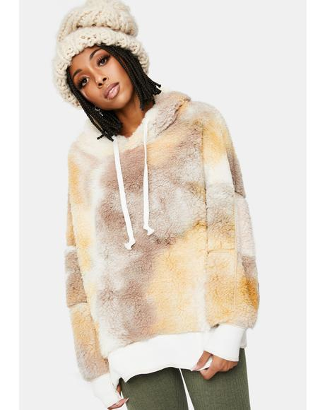 In The Middle Sherpa Tie Dye Hoodie