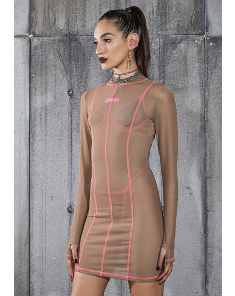 Snare Nude Mesh Bodycon Dress