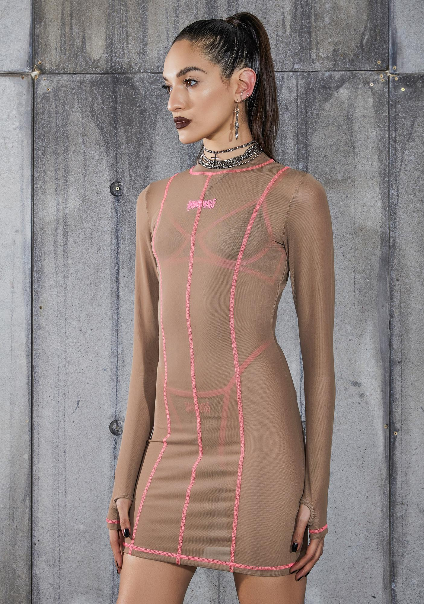 DARKER WAVS Snare Nude Mesh Bodycon Dress