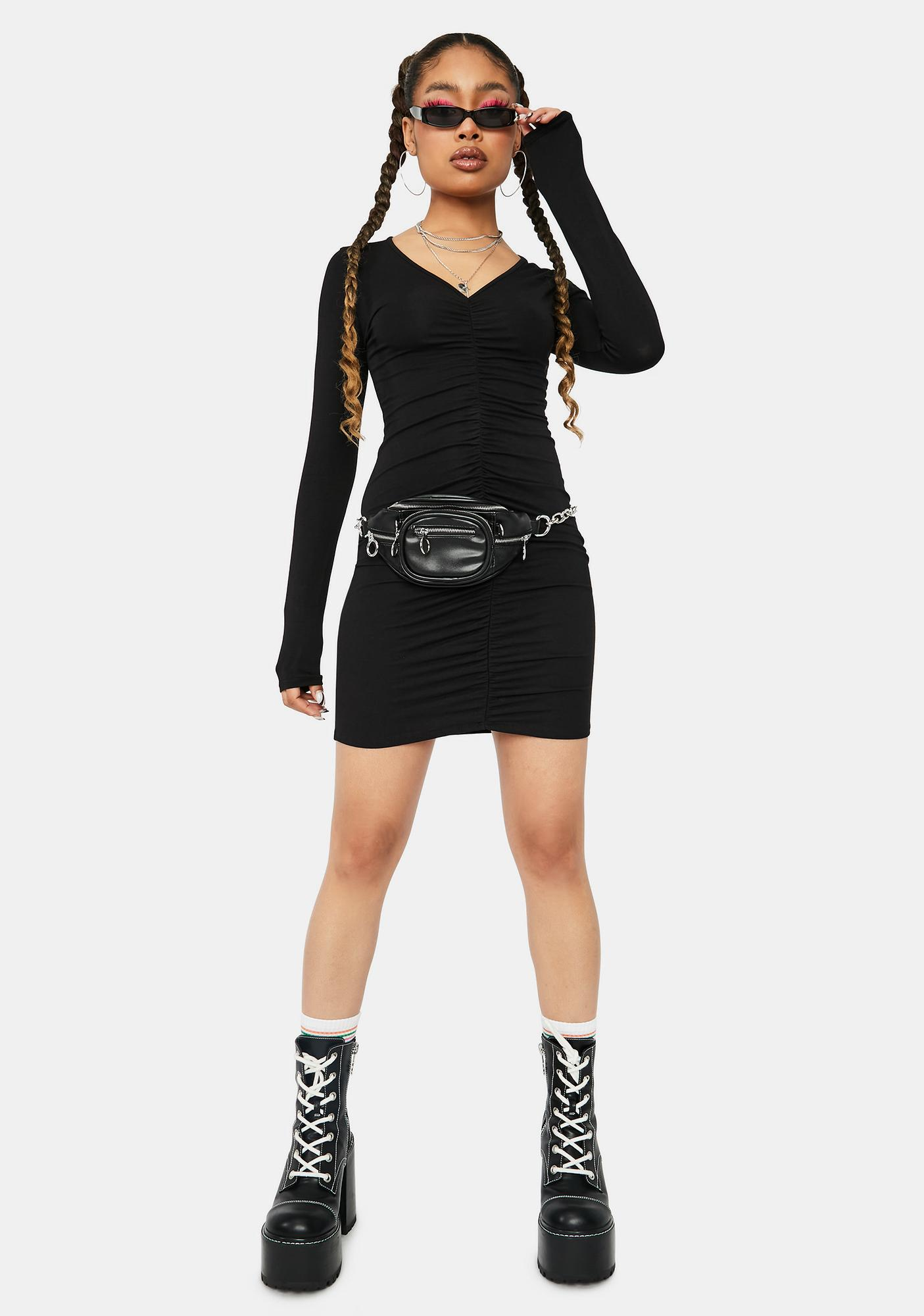 Royal Confusions Long Sleeve V-Neck Bodycon Dress