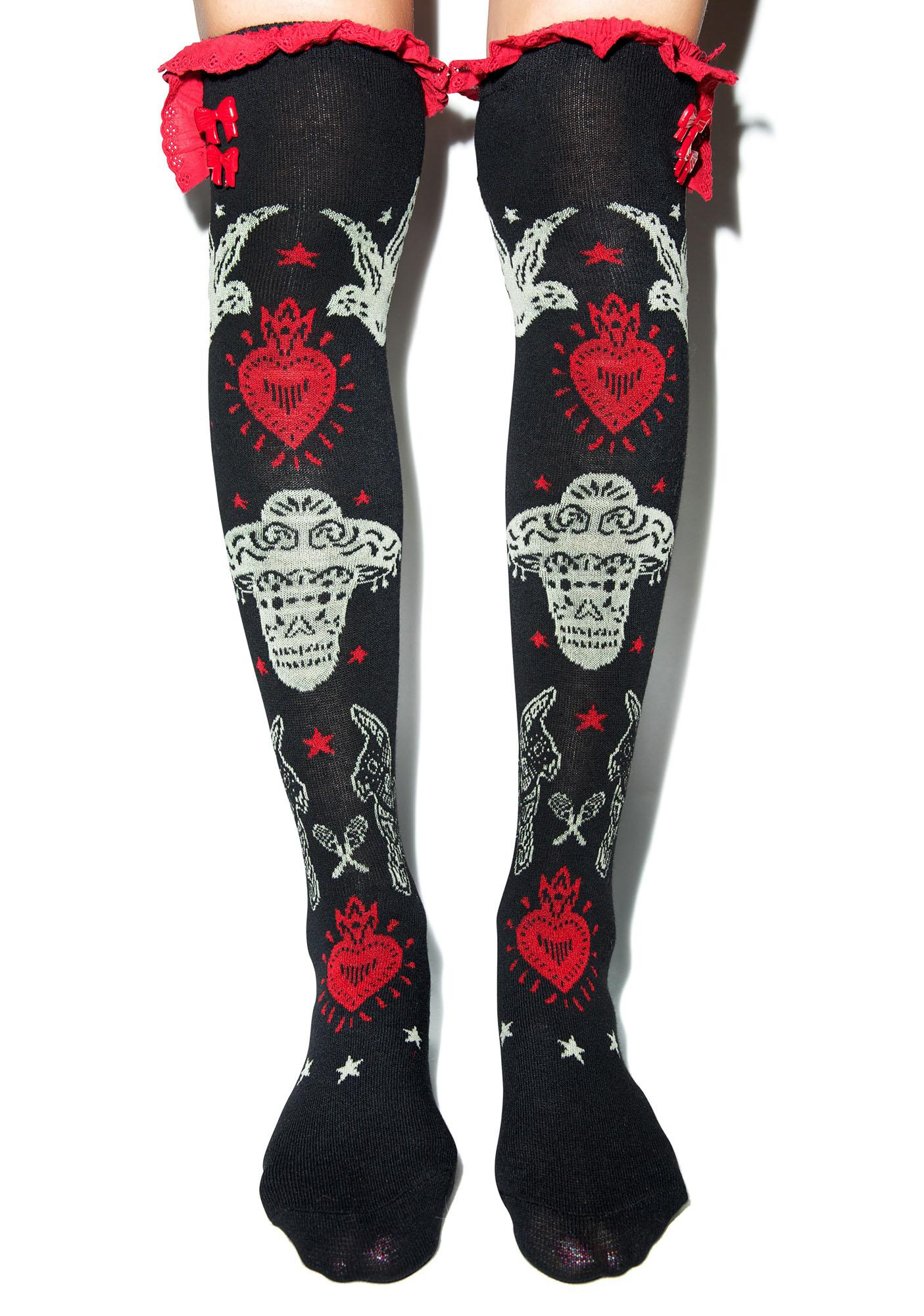 Too Fast Day Of The Dead Fiesta Eyelet Knee Socks