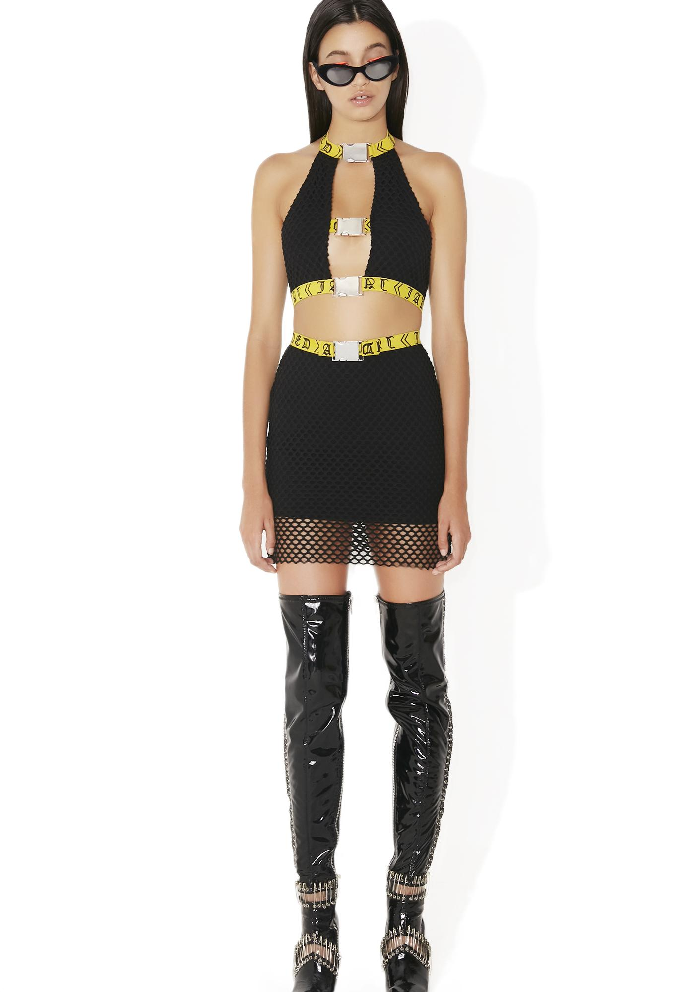 Jaded London Black & Yellow Buckle Skirt