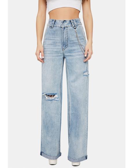 Indigo Raider Hi Heights Fashion Wide Leg Denim Jeans