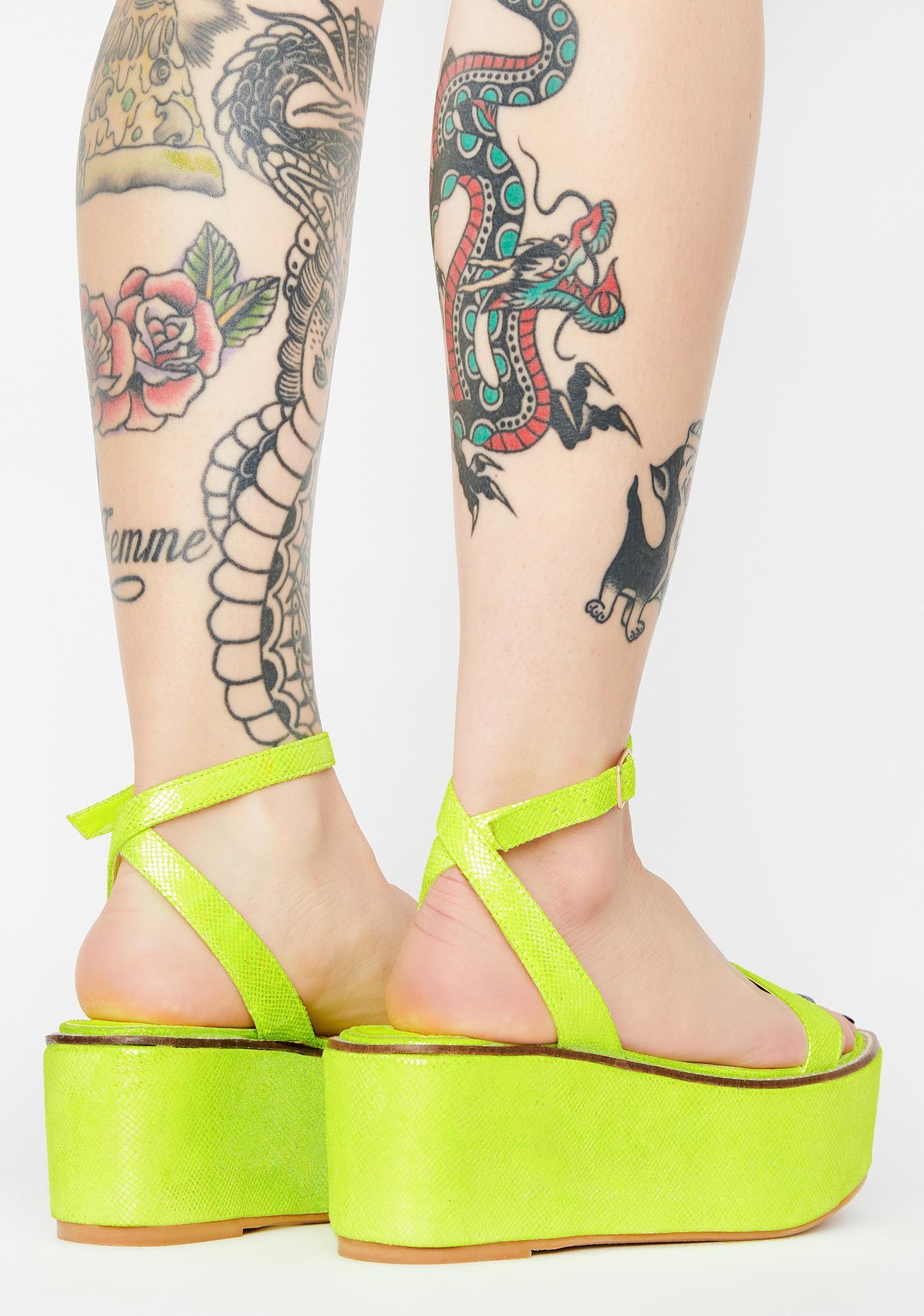 Lemon Drop by Privileged Davvy Platform Sandals
