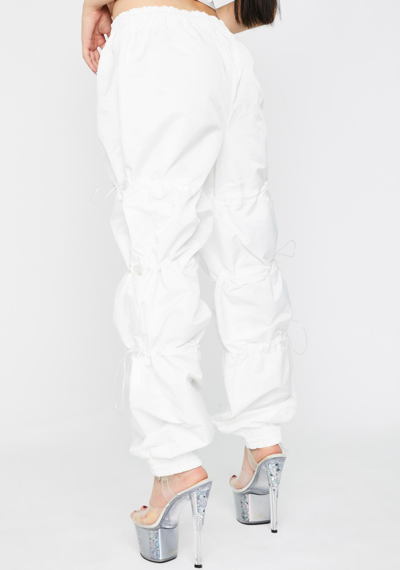 Jaded London White Toggle Cuffed Joggers