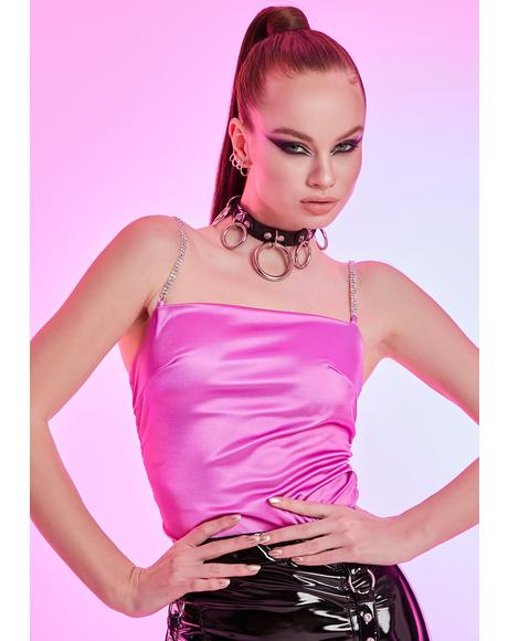 Sassy But Sane Rhinestone Satin Crop Top