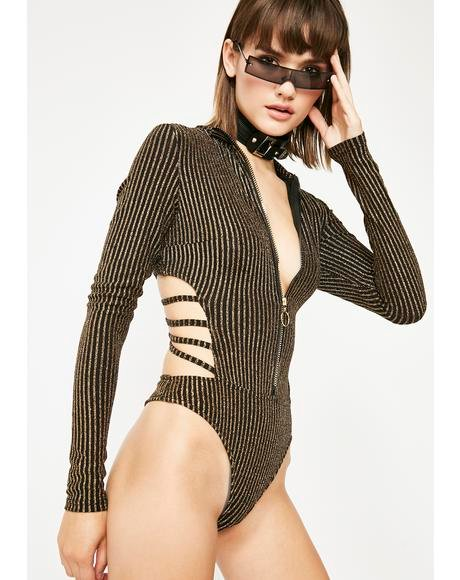 Eat Sleep Rave Metallic Bodysuit