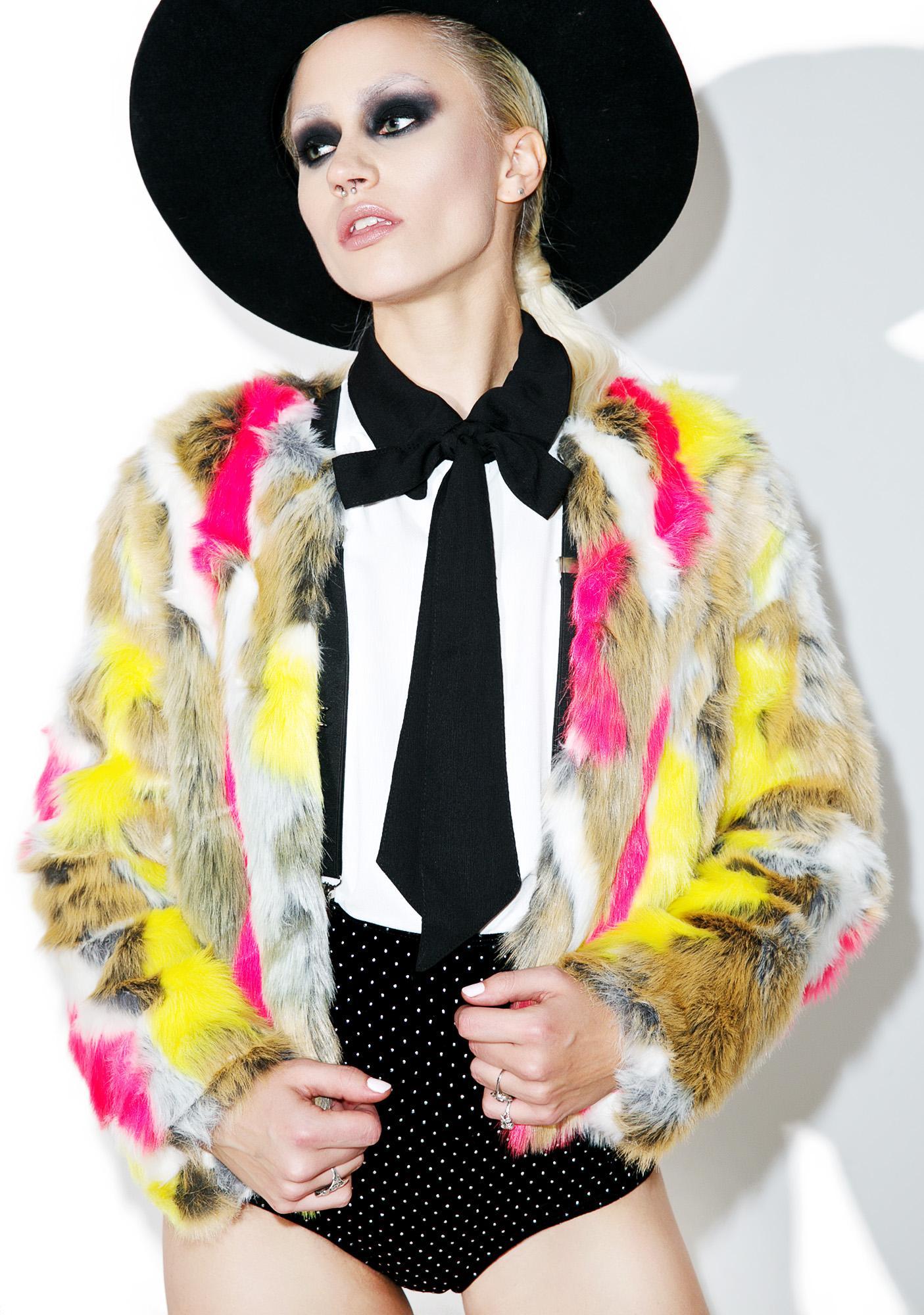 Abstract Anti Matter Faux Fur Jacket
