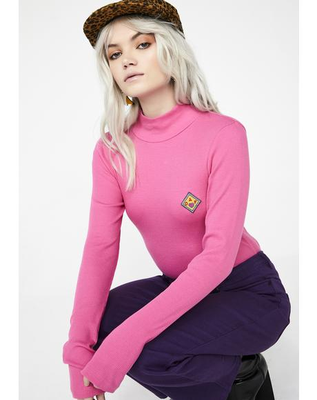 Pink Oaf Roll Neck Top