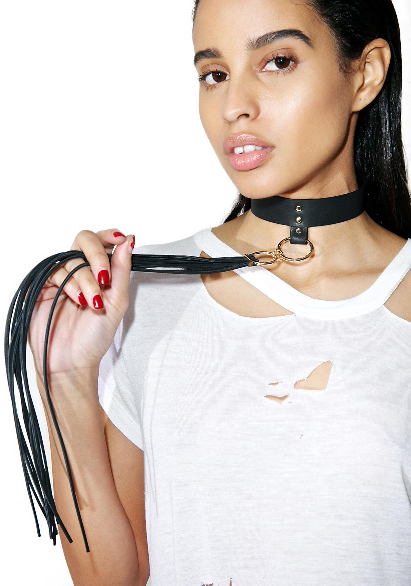 BIJOUX INDISCRETS Long Fringe Leather Choker