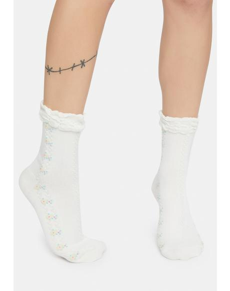 Pure Lover's Fate Embroidered Crew Socks