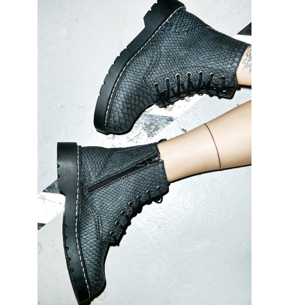 T.U.K. Dragon Scale Embossed Combat Boots