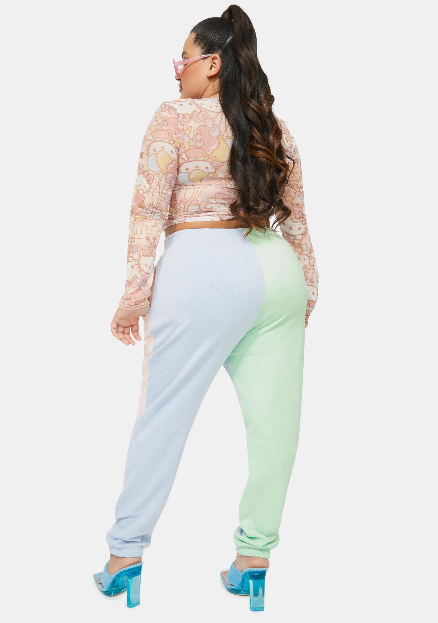 NEW GIRL ORDER Curve Hello Kitty Color Block Joggers