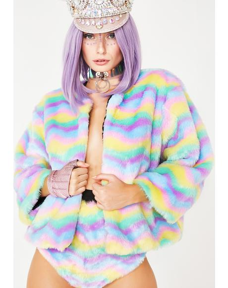 Sherbet Delight Faux Fur Jacket