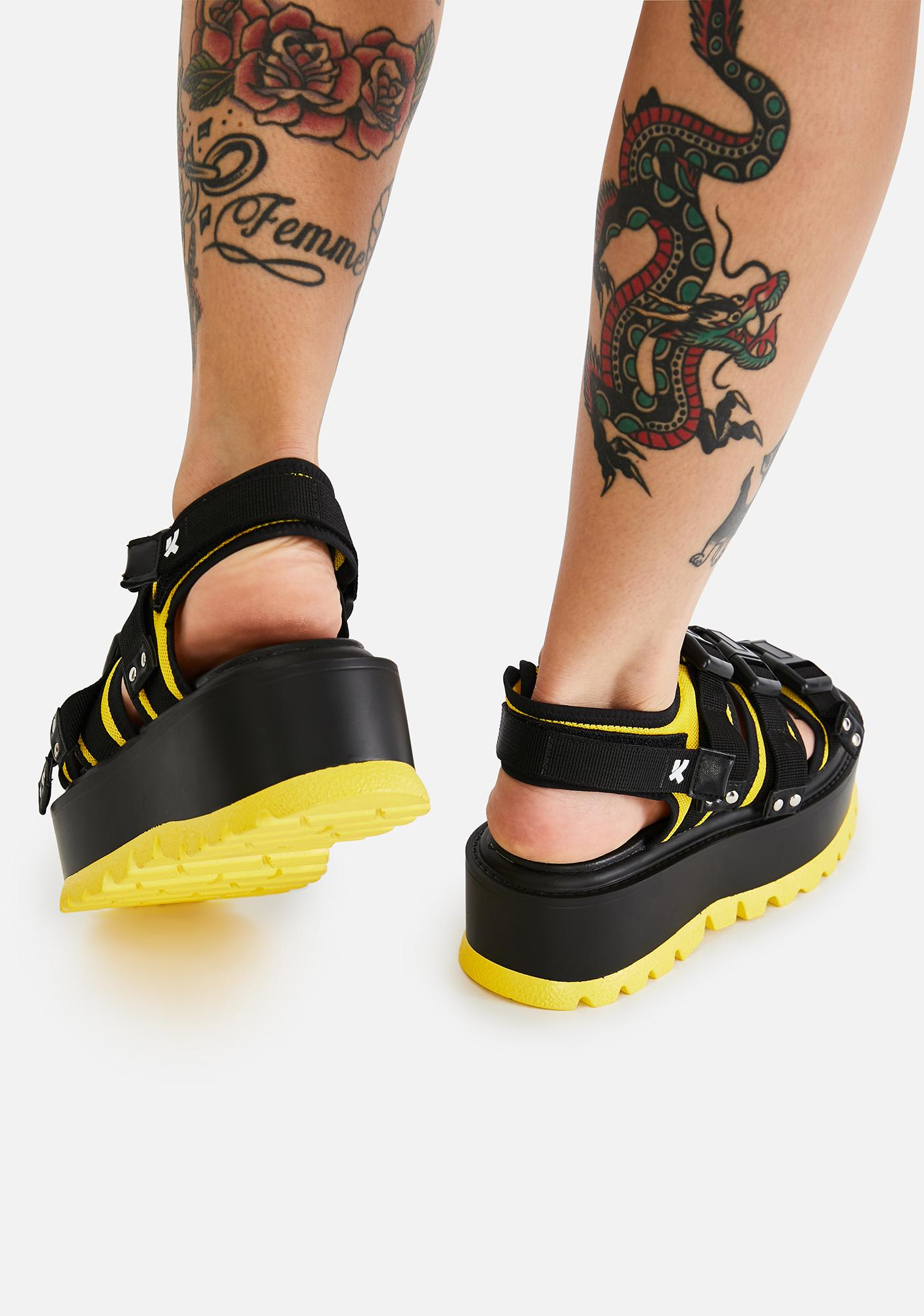Koi Footwear Yellow Asteroid Matrix Platform Sandals