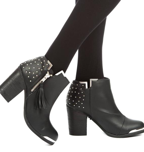 Fullu Black Studded Ankle Boots