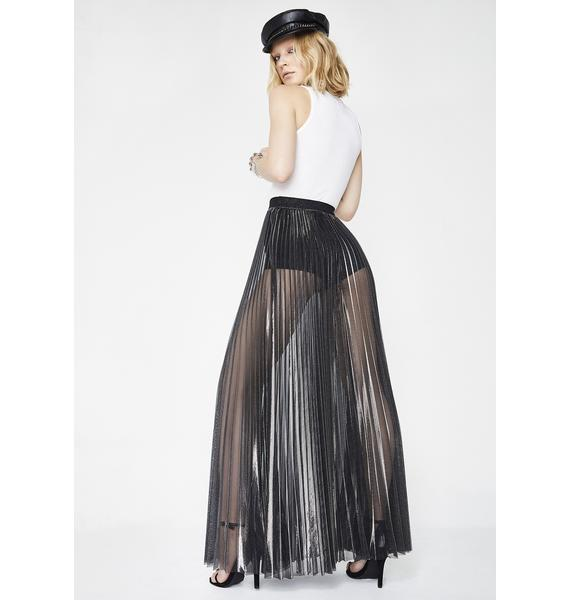Whimsical Manner Pleated Maxi Skirt