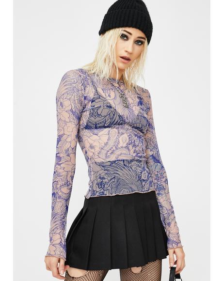 Blue Flower Flower Print Mesh Top
