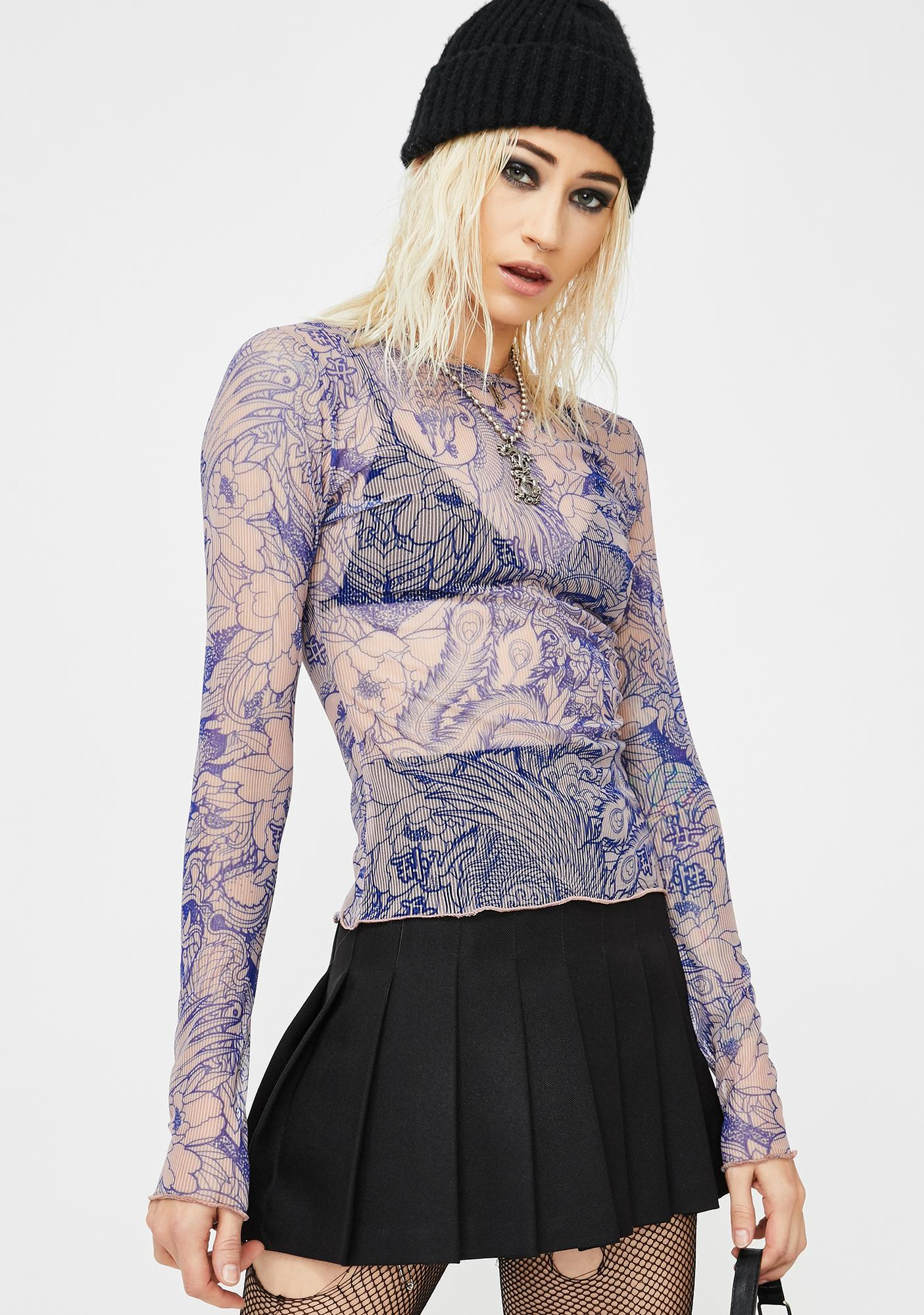 NEW GIRL ORDER Blue Flower Flower Print Mesh Top