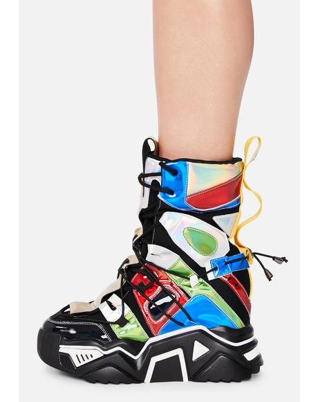 Black Holographic Game Changer Ankle Boots