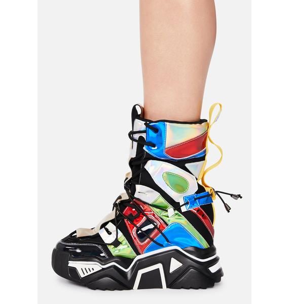 Anthony Wang Black Holographic Game Changer Ankle Boots