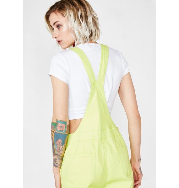 Lime Fusion Fix Denim Overalls