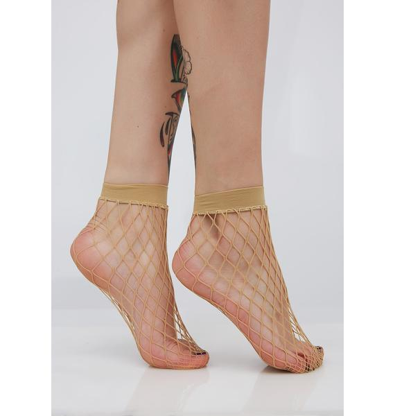 Nude Too Hooked Fishnet Socks