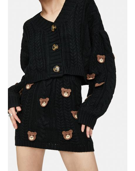 Teddy Time Knit Sweater Skirt