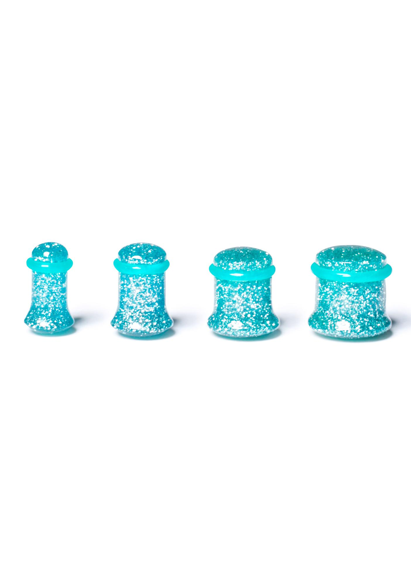 Aqua Dreams Gauged Glitter Plugs