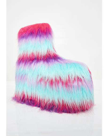 Qomet Striped Fur Platform Boots