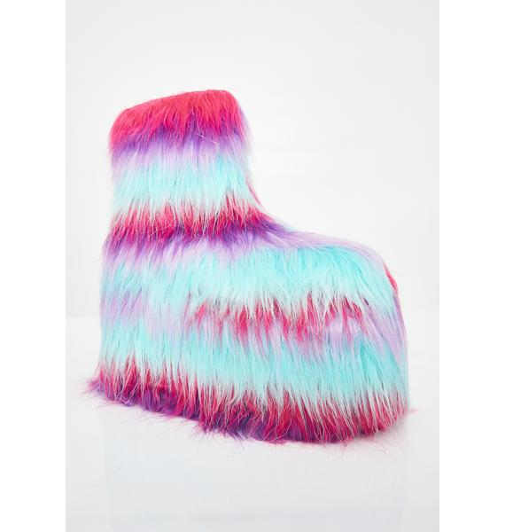 Y.R.U. Qomet Striped Fur Platform Boots