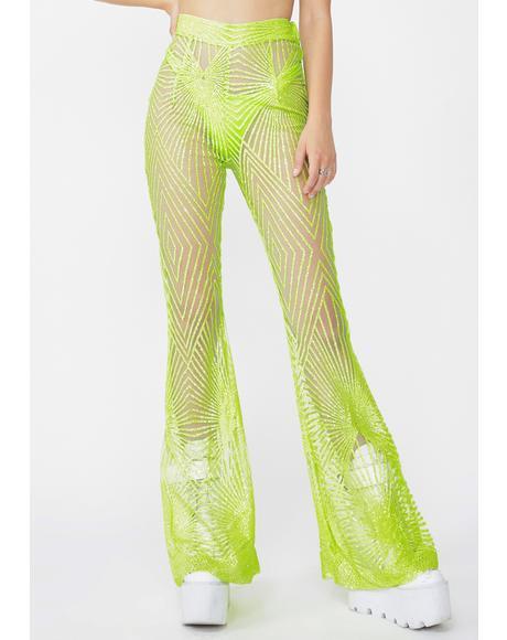 Memphis Lime Sheer Glitter Flares