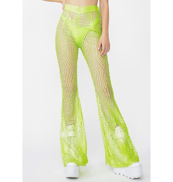 Elsie & Fred Memphis Lime Sheer Glitter Flares