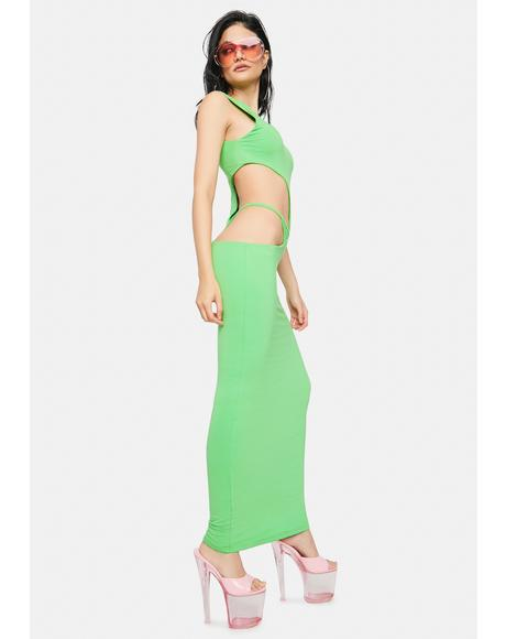 Lime Pretty Hurts Cut Out Maxi Dress