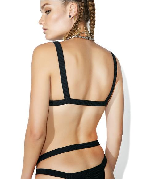 Black Bandit Rib Bikini Top