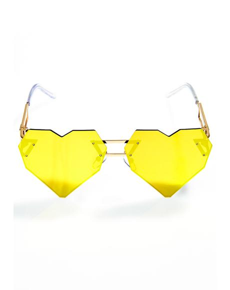 Gold Heart Speqz Sunglasses
