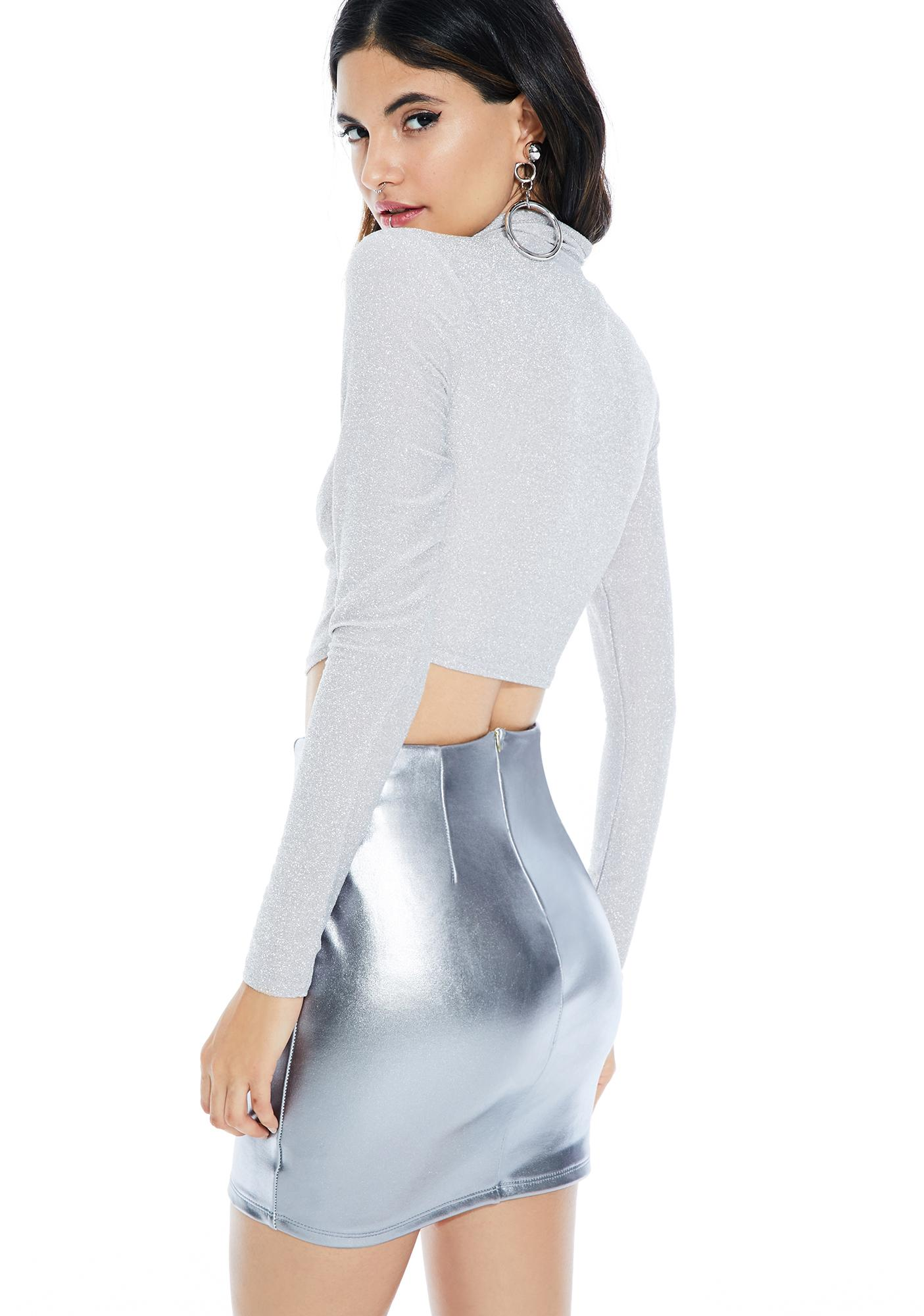 Silver Screens Glittery Crop Top
