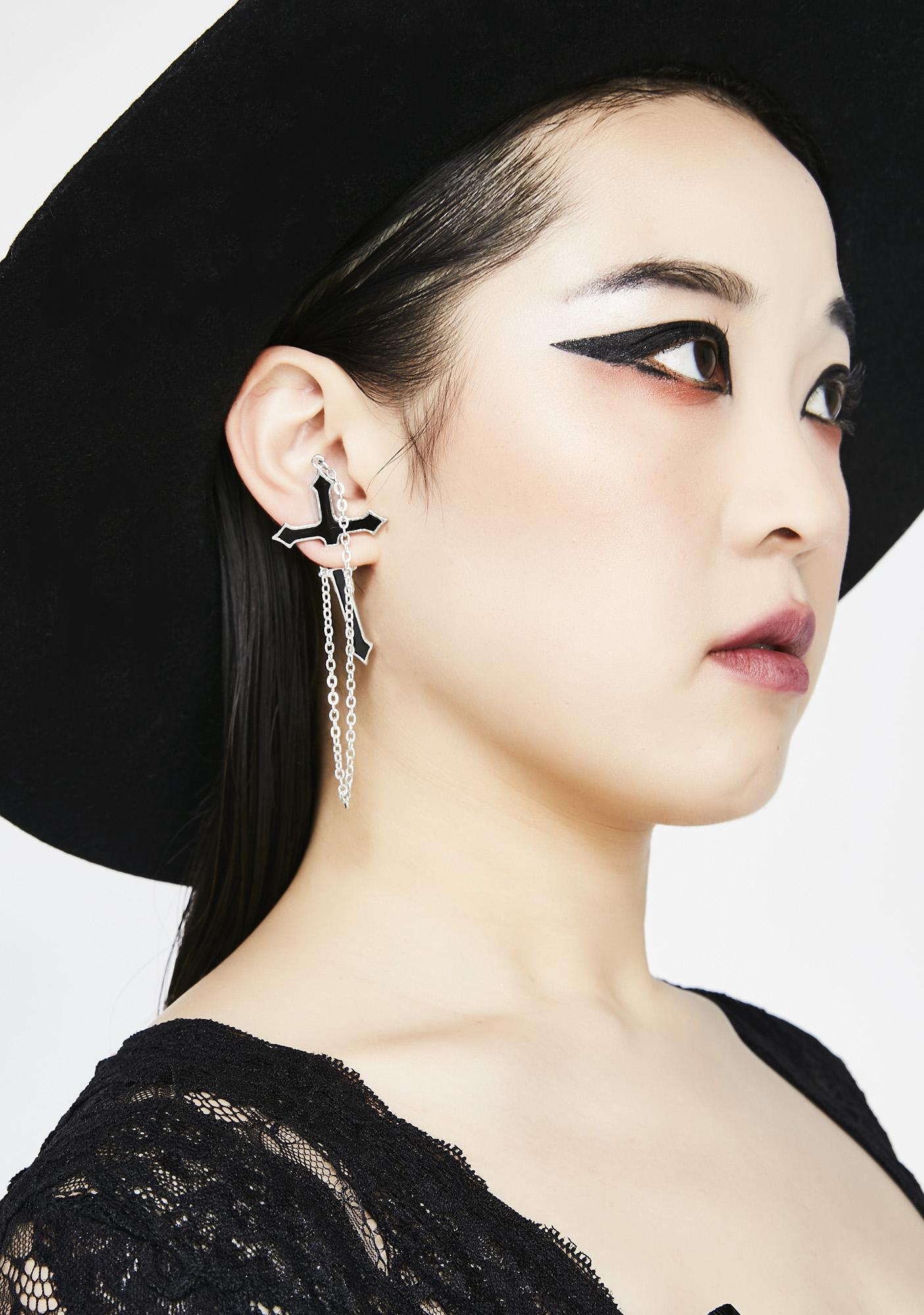 Impaling For You Cross Earring