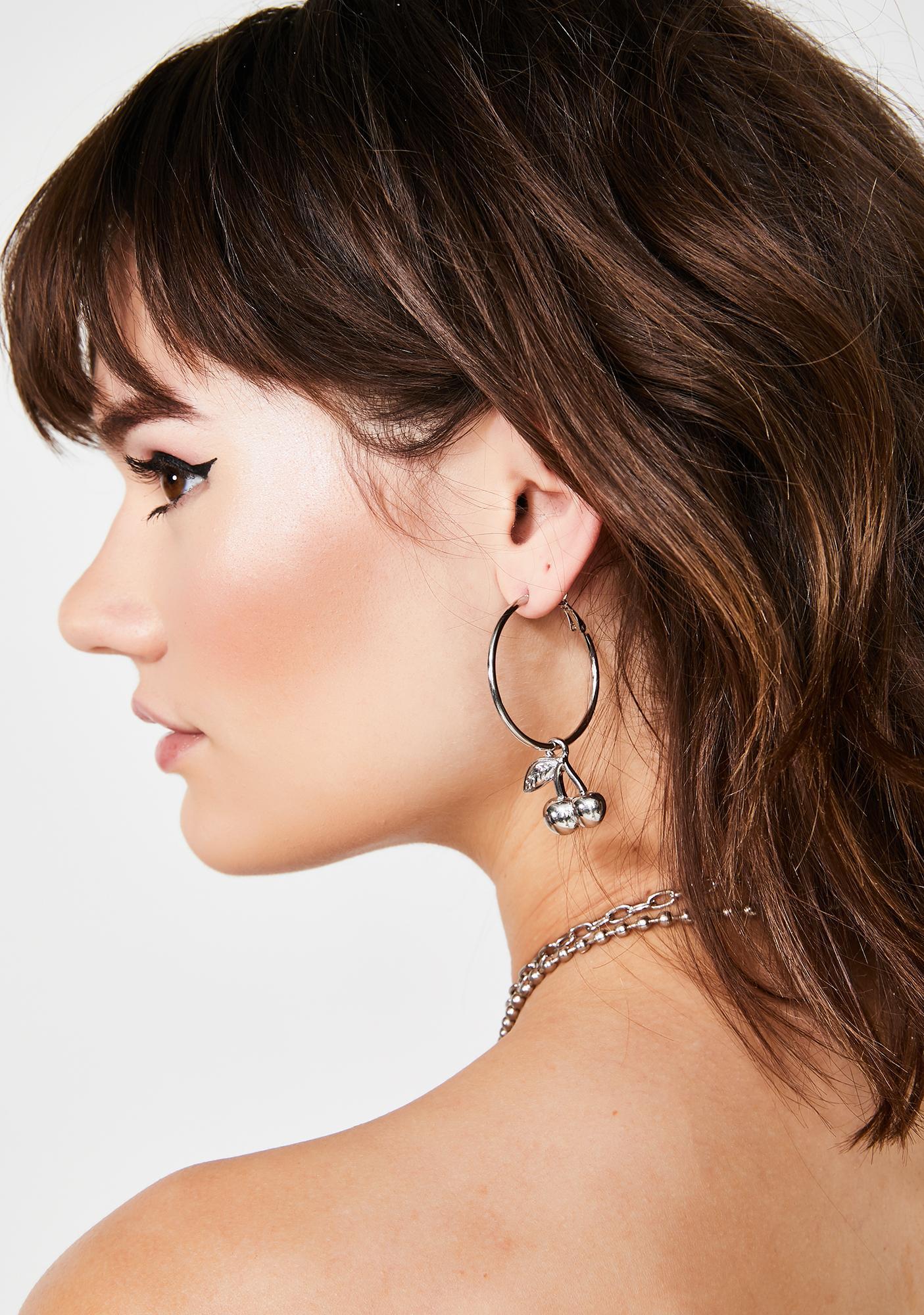 Cherry Cola Hoop Earrings