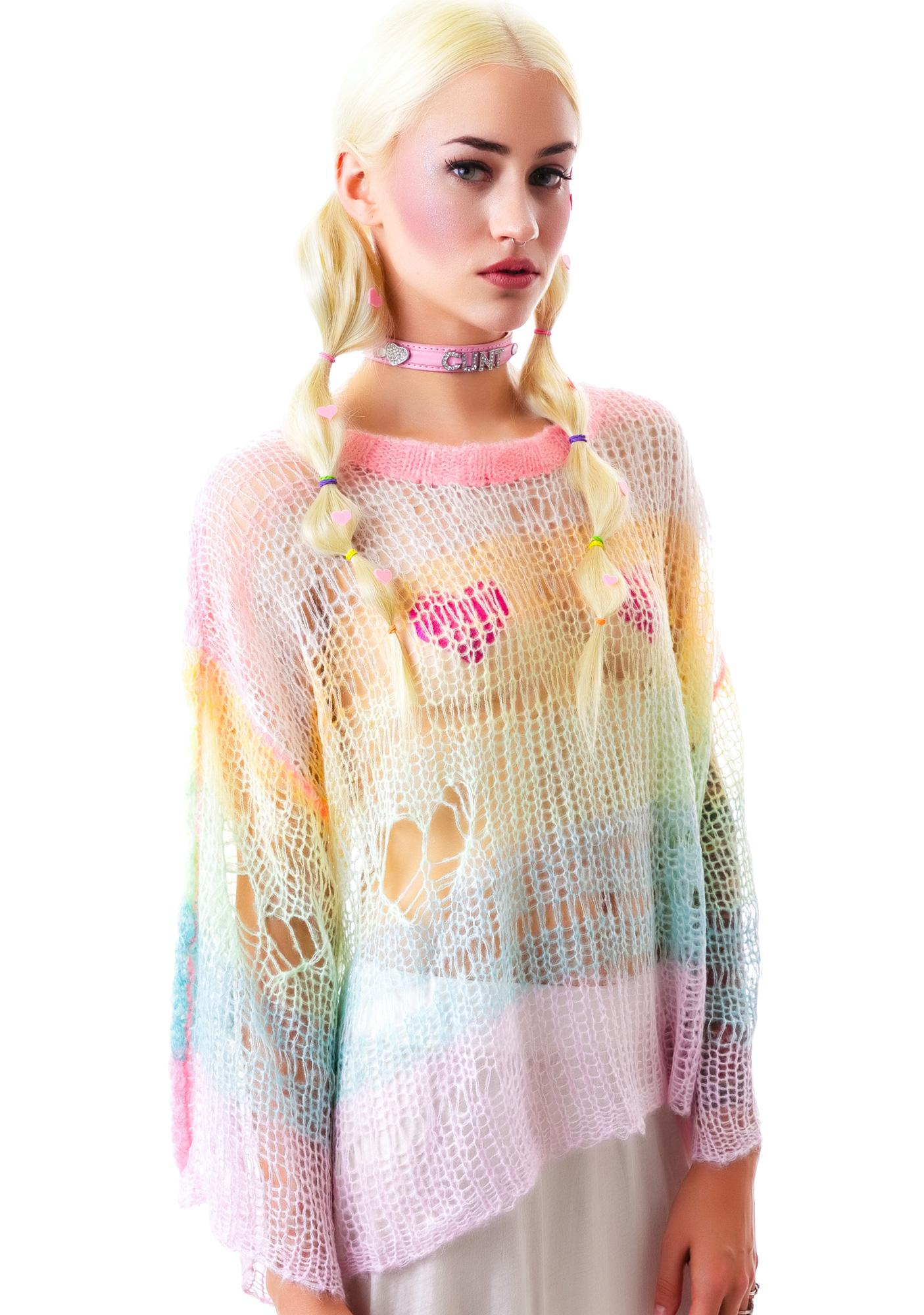 Wildfox Couture Rainbow Ski Bunny Lost Sweater