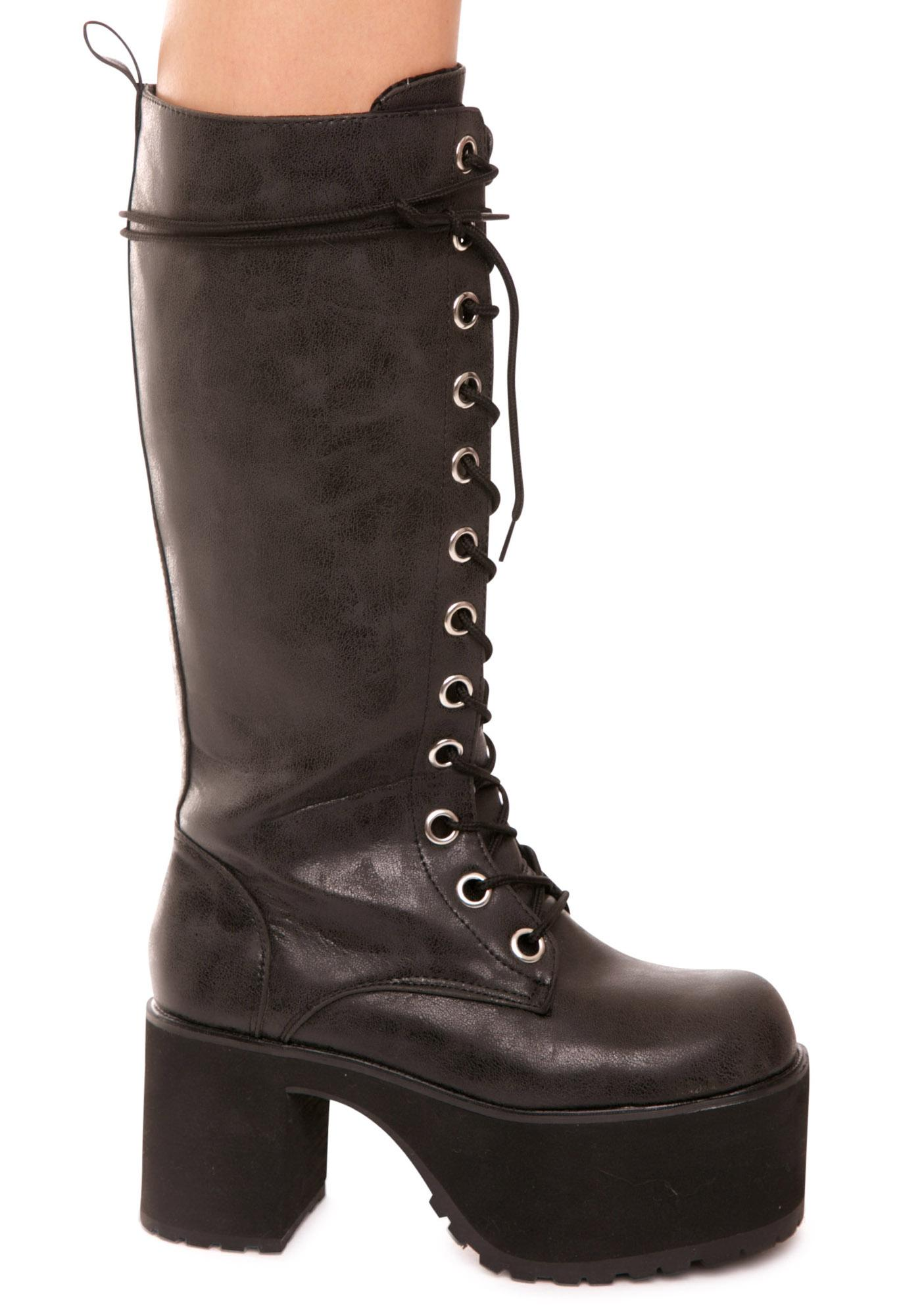 T.U.K. 12-Eye Nosebleed Platform Boots
