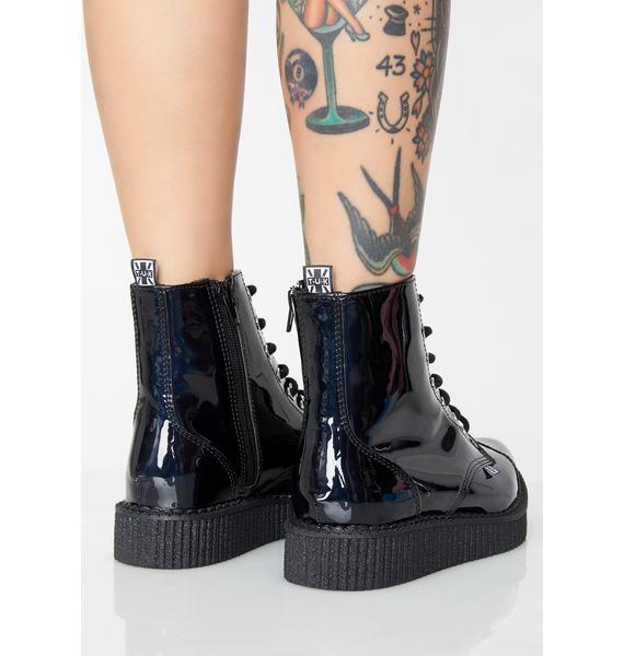 T.U.K. Black Hologram Pointed Lace Up Boots