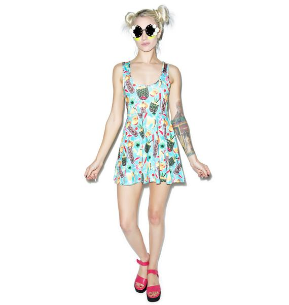Sourpuss Clothing Tropical Drink Skater Dress